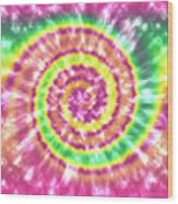 Festival Spiral Bright Colors- Art By Linda Woods Wood Print