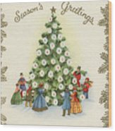 Festive Christmas Tree In A Town Square Wood Print