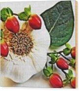 Festive Garlic Wood Print