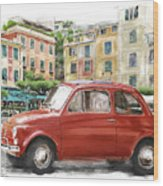 Fiat 500 Classico Wood Print by Michael Doyle