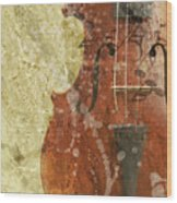 Fiddle In Grunge Style Wood Print