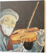 Fiddler Blue Wood Print by J Bauer