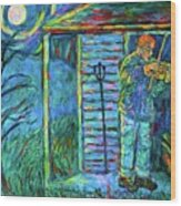 Fiddling At Midnight's Farm House Wood Print