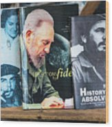 Fidel At The Used Book Sellers Market Wood Print