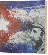 Fidel Castro Cuban Flag Wood Print