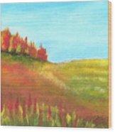 Field In Autumn Wood Print