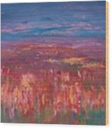 Field Of Heather Wood Print