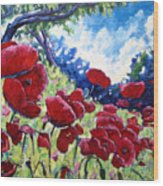 Field Of Poppies 02 Wood Print