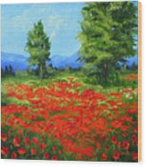 Field Of Poppies IIi Wood Print