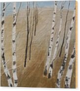 Field With Birches Wood Print