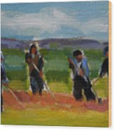 Field Workers In Watsonville - Study Wood Print