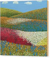 Fields Of Flowers Wood Print