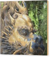Fierce Foo Dog Face Wood Print