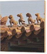 Fierce Guardians Of The Forbidden City Wood Print