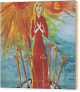 Fiery Eight Of Swords Illustrated Wood Print