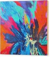 Fiery Flower Wood Print