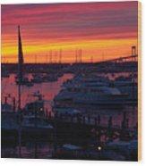 Fiery Harbor Wood Print