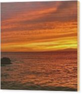 Fiery Makena Sunset Wood Print