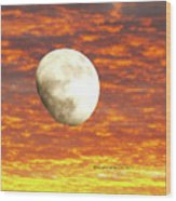 Fiery Moon Wood Print
