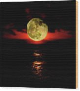 Fiery Moon Rise Wood Print