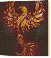 Fiery Phoenix Wood Print