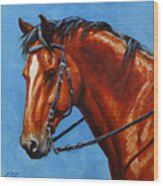 Fiery Red Bay Horse Wood Print