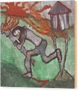 Fiery Seven Of Swords Illustrated Wood Print