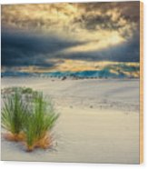 Fiery Sunrise At White Sands Wood Print