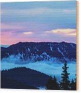 Fiery Sunrise From Mt. Hood Wood Print
