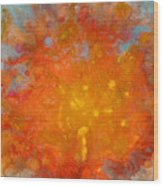 Fiery Sunset Abstract Painting Wood Print by Julia Apostolova