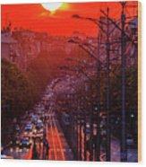 Fiery Sunset In Belgrade Belgradehenge Wood Print