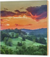 Fiery Sunset On The Farm Wood Print