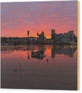 Fiery Sunset Over Portland Skyline Wood Print
