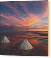 Fiery Sunset Over The Salar De Uyuni Wood Print