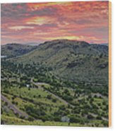 Fiery Sunset Panorama Over Davis Mountains State Park - Keesey Canyon Blue Mountain Limpia Canyon - Wood Print