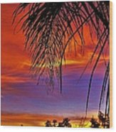 Fiery Sunset With Palm Tree Wood Print