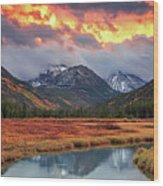 Fiery Uinta Sunset Wood Print
