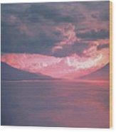 Fiery Volcano Wood Print