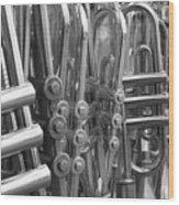 Fiesta Of Horns Bw Wood Print