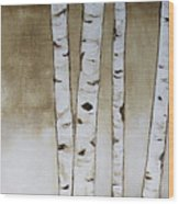 Fifteen Birch Trees Wood Print