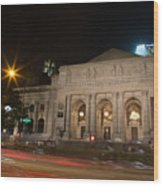 Fifth Avenue And Library Wood Print