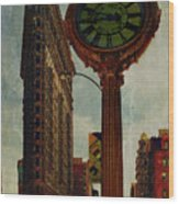 Fifth Avenue Clock And The Flatiron Building Wood Print