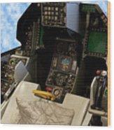 Fighter Jet Cockpit 01 Wood Print
