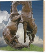 Fighting Stallions Wood Print