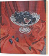 Figs And Grapes On Red  Wood Print