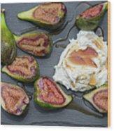 Figs Dessert With Mascarpone Wood Print
