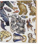 Figurative Sticker Sheet Wood Print