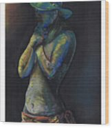 Figure Hat And Scarf Wood Print