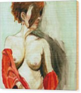 Figure In Red Wood Print