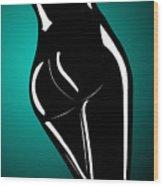 Figure In Teal Wood Print